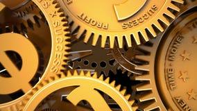 Maquinismo de relojoaria do negócio da fantasia Voo da câmera através do maquinismo de relojoaria Tempo-dinheiro conceptual da an ilustração stock