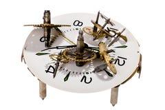Maquinismo de relojoaria no branco Fotos de Stock Royalty Free