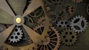 Maquinismo de relojoaria velho com muitas rodas denteadas fotografia de stock