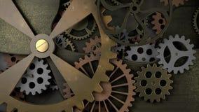 Maquinismo de relojoaria velho com muitas rodas denteadas video estoque