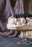 Marängkaka Pavlova med blåbär royaltyfria foton