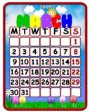 Março 2009 do calendário Foto de Stock