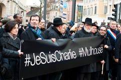 março contra o ataque do terrorismo do compartimento de Charlie Hebdo, o 7 de janeiro de 2015 em Paris Fotos de Stock