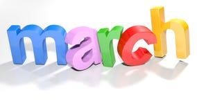 março 3D colorido escreve - a rendição 3D Fotografia de Stock Royalty Free