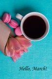 março da etiqueta olá!, tulipas cor-de-rosa, xícara de café e bolinhos de amêndoa cor-de-rosa Fotos de Stock Royalty Free