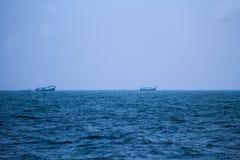 março dos barcos de pesca imagem de stock