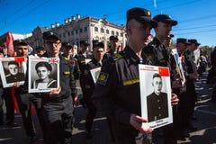 março imortal do regimento nas celebrações de Victory Day Fotografia de Stock