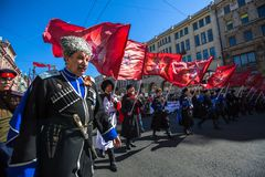 março imortal do regimento nas celebrações de Victory Day da vitória sobre Nazi Germany na segunda guerra mundial Imagens de Stock