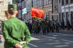 março imortal do regimento nas celebrações de Victory Day da vitória sobre Nazi Germany na segunda guerra mundial Foto de Stock Royalty Free