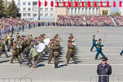 março militar da orquestra do russo na parada na vitória anual Imagens de Stock Royalty Free