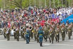 março militar da orquestra do russo na parada na vitória anual Foto de Stock Royalty Free