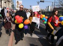 março para a vida - Bucareste, Romênia fotos de stock