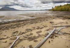 A maré baixa faz uma praia larga no lago flagstaff, Maine fotografia de stock
