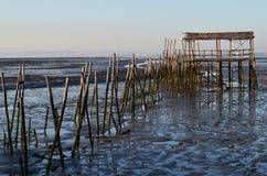 Maré baixa no porto de pesca artisanal de Carrasqueira, estuário do palaphite do rio de Sado, Portugal Fotografia de Stock