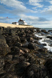 Maré baixa perto de Rhode Island Lighthouse imagem de stock royalty free