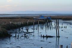 Marée basse au port de pêche artisanal de palaphite de Carrasqueira, estuaire de rivière de Sado, Portugal Photo libre de droits
