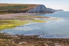 Marée basse le long de la côte du Sussex image stock
