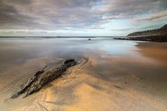 Marée basse sur la plage Otur photo libre de droits
