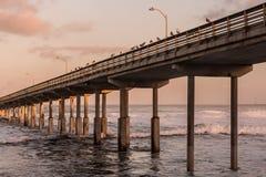 Marée haute au pilier de pêche de plage d'océan Photo libre de droits