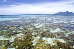 Mar abierto e isla bajos Fotografía de archivo libre de regalías