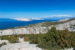 Mar adriático cerca de la isla de Krk, Croacia Foto de archivo libre de regalías