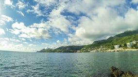 Mar adriático del paisaje marino de Timelaps en los Balcanes, Montenegro metrajes