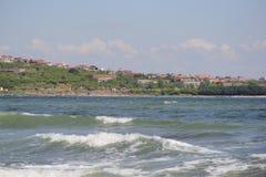 Mar, areia, onda, ano 2014 imagem de stock
