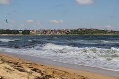 Mar, arena, onda, año 2014 foto de archivo