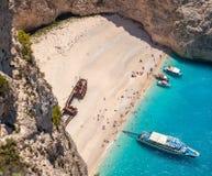 Playa de Navagio, isla de Zakinthos, Grecia Imagenes de archivo