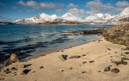 Mar azul, playa de la arena y montañas nevosas durante un día soleado Fotografía de archivo