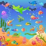 Mar azul profundo de Unde ilustración del vector