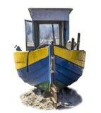 Mar Báltico Lançamento de madeira velho da pesca arrastado em terra foto de stock