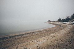 Mar Báltico y efecto de niebla del vintage de la mañana Foto de archivo
