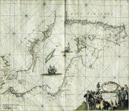 Mar Baltico della mappa antica Fotografia Stock