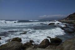 Mar bravo plaży seascape widok zdjęcia stock