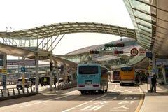 Mar 18,2018 Bus arrive at Departure area at Incheon airport, Incheon city. Korea Stock Photos