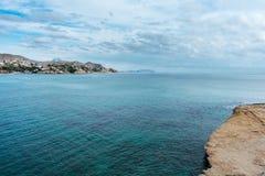 Mar calmo para fora ao leste da Espanha imagem de stock
