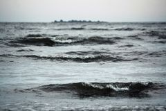 Mar cinzento na chuva com wawes grandes Imagens de Stock