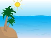 Mar com a ilha com palmas e sol Fotografia de Stock Royalty Free