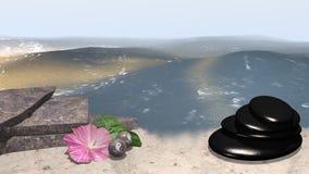 Mar con la playa de la arena en la cual mentira una flor rosada con la hoja anaranjada Fotos de archivo libres de regalías