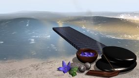 Mar con una playa arenosa de la cual un embarcadero entra el agua, i Imagen de archivo libre de regalías