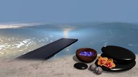 Mar con una playa arenosa de la cual un embarcadero entra el agua, o Foto de archivo libre de regalías