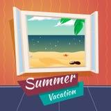 Mar da janela aberta dos desenhos animados das férias das férias de verão ilustração do vetor