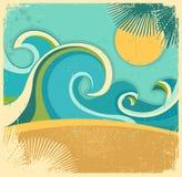 Mar da natureza do vintage com ondas e sol. Vetor retro Fotografia de Stock Royalty Free