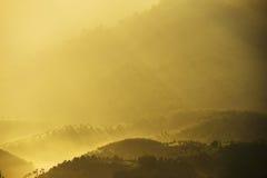 Mar da paisagem da névoa nas montanhas Fotos de Stock Royalty Free