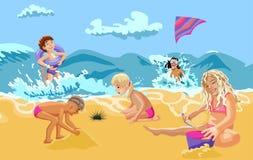 Mar das crianças, areia, praia, sol, ondas, verão ilustração stock