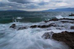 Mar de adriático na tempestade Fotografia de Stock