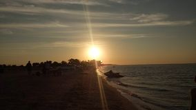 Mar de Azov, por do sol Fotos de Stock Royalty Free