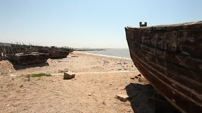 Mar de China, China Liaoning, pueblo pesquero,
