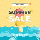 Mar de la arena de la playa del verano y helado Diseño de la plantilla de la bandera de la venta del 50% Oferta especial de la ve libre illustration
